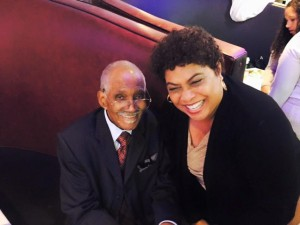 Dr Joseph Joyner telling me I can sit on his lap at his party. He was the first black pediatrician in San Diego. lol #pop90
